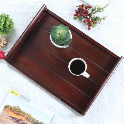 Brown Teak Wood Large Serving Tray