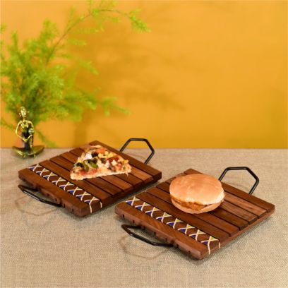 Dark Brown Hand Knitted Snacking Trays With Cane Work And Iron Handles - Set of 2
