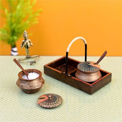 Brown Wooden Handi Set With Stylish Metal Handle Tray