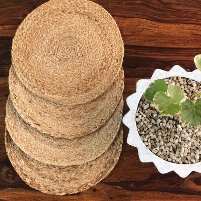 Natural Colored Round Jute Placemat - Set of 4