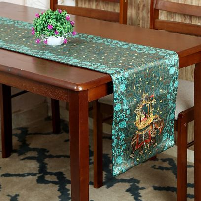 Green Printed Polyester Satin Silk Fabric Table Runner (72 x 14 inches)