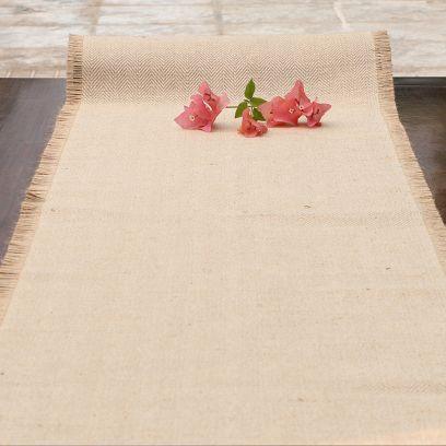 Handmade Jute Natural Fibre Beige Table Runner