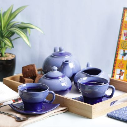 Blue Stoneware Tea Pot with Cups Morning Set