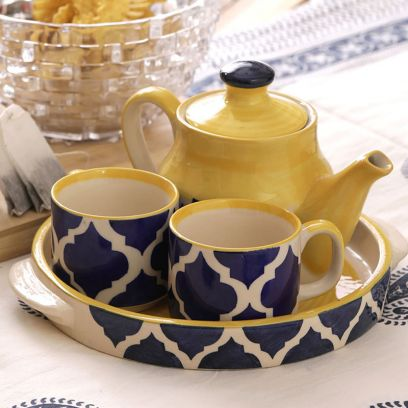 Ceramic Blue Cups and Kettle Set - Set of 4