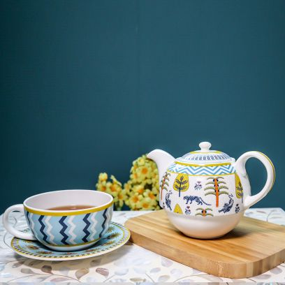 Elixir Ceramic Cup and Saucer with Kettle