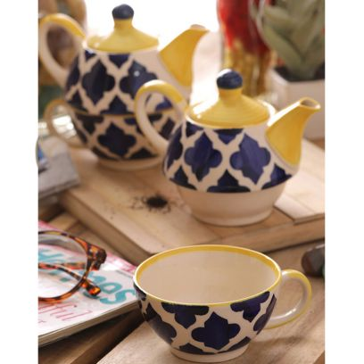 Handcrafted Blue Ceramic Cup with Kettle Set -Set of 2