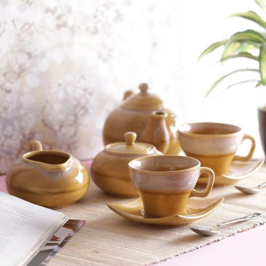 Yellow Stoneware Tea Pot with Cups Morning Set
