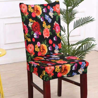 Multicolour Flower Printed Elasted Chair Cover