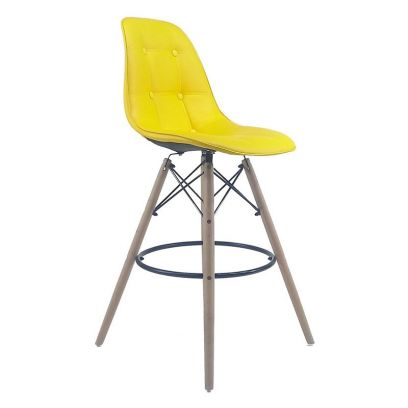 Scandinavian Style Eames DSW Natural Wood Iconic Chair (Yellow)