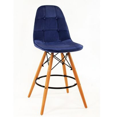 Scandinavian Style Eames DSW Natural Wood Velvet Iconic Chair (Blue)