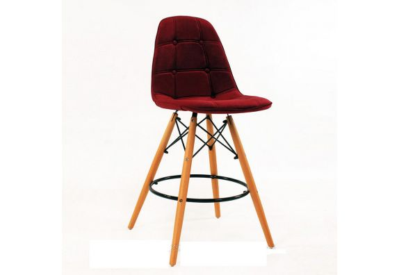 Scandinavian Style Eames DSW Natural Wood Velvet Iconic Chair (Red)