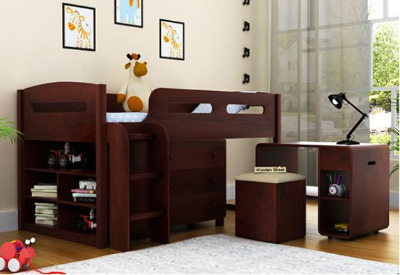 Wooden bunk bed with study table online | Kids Beds | Space saving beds for small rooms