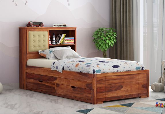 space saving beds, bed design, Single Bed, kids trundle bed with storage for toddler, Space Saving Wooden Furniture Design India