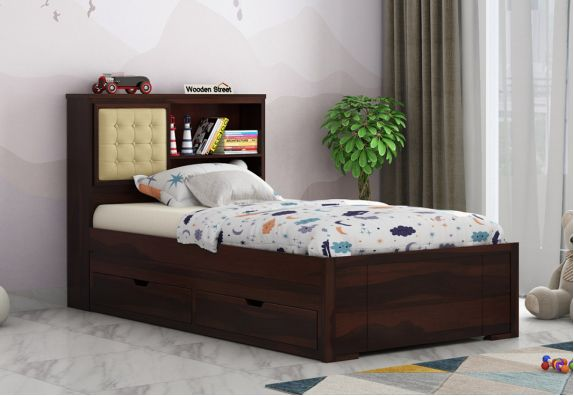 Wooden Trundle Bed for Kids Online With Storage