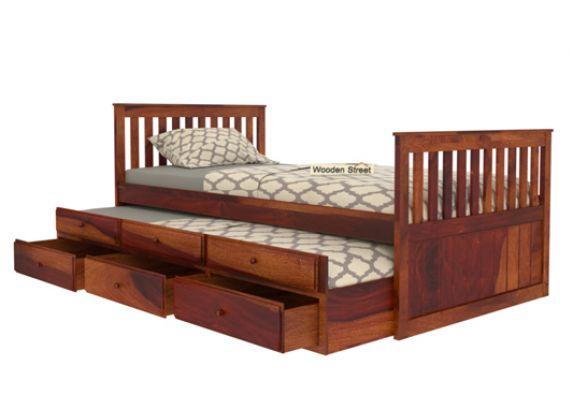designer single trundle bed with storage for kids