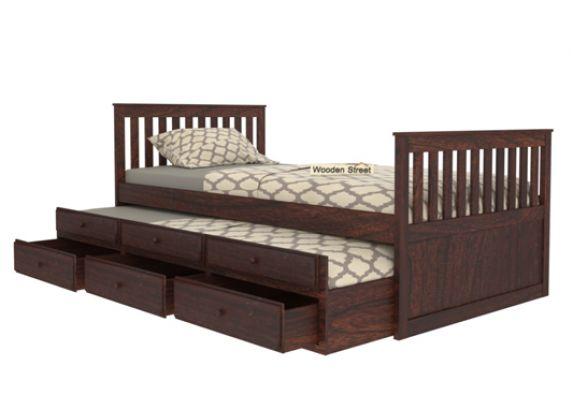 designer single trundle bed for kids with storage