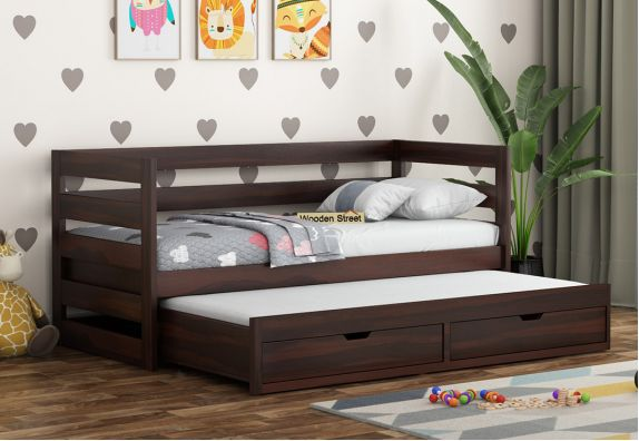 solid wood trundle bed with storage online for kids