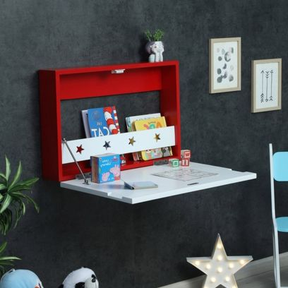 Red Colour Wall Mounted Kids Study Table