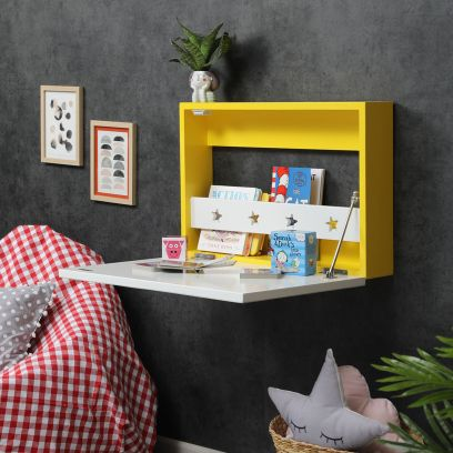 Yellow Colour Wall Mounted Kids Study Table