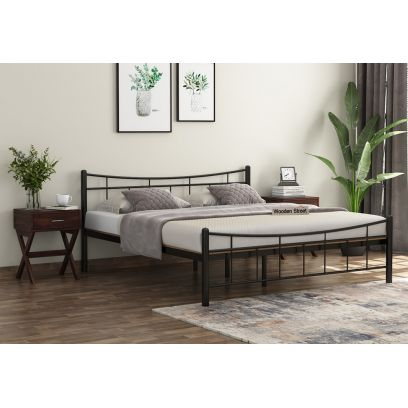 Ellipse Brown Powder-Coated Metal Bed with Particle Board (Queen Size)