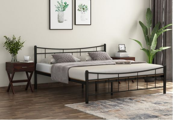 Iron Bed Design - Ellipse Brown Powder-Coated Metal Bed with Particle Board (King Size)