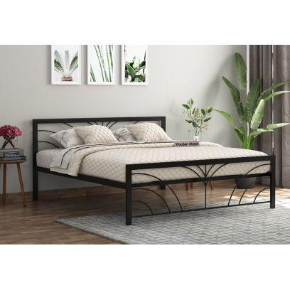 Iron Bed Design - Fleur Black Powder-Coated Metal Bed (Queen Size)