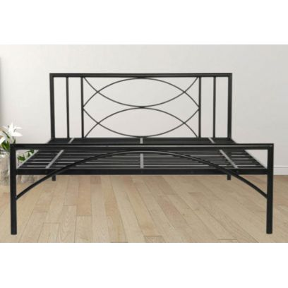 Mystic Black Powder-Coated Metal Bed (King Size)