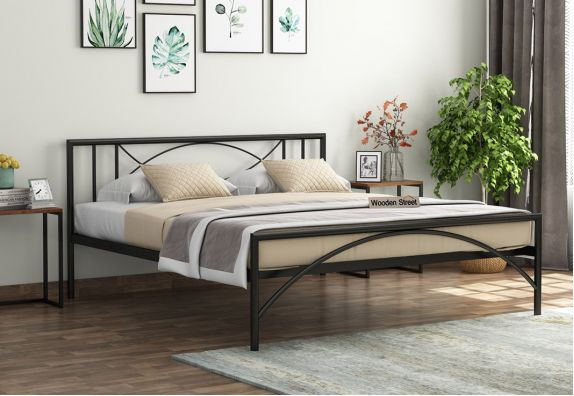 Mystic Black Powder-Coated Metal Bed (Queen Size)
