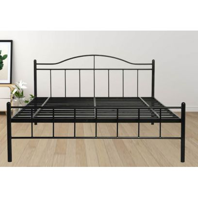 Iron Bed Design - Svelte Black Powder-Coated Metal Bed (Queen Size)
