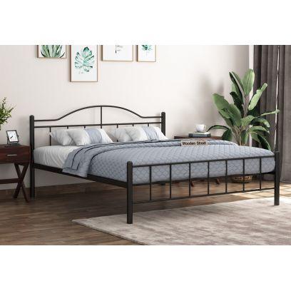 Iron Bed Design - Svelte Black Powder-Coated Metal Bed (Queen Size)