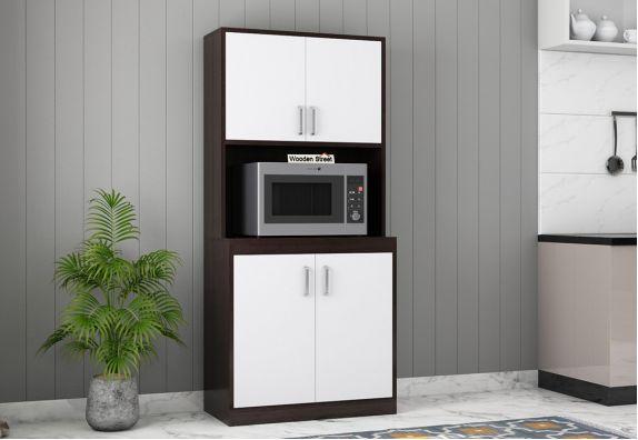 Maris Kitchen Cabinet (Flowery Wenge-Frosty White Finish)