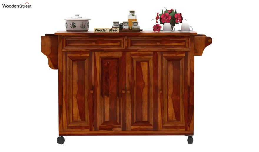 Buy Elsa Kitchen Island Honey Finish Online In India Wooden Street