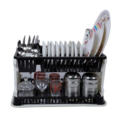 Black Colour Plastic Utensil Rack with Water Storing Tray