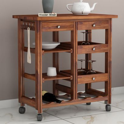 Buy Modern Wooden kitchen trolley design online in India
