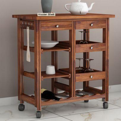 Buy Modern Wooden kitchen trolley design online in India