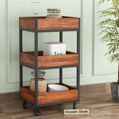 solid wood kitchen trolley design in Jaipur, Bangalore, Pune India