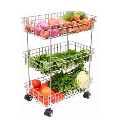 Silver Stainless Steel Multipurpose Vegetable and Fruit Rack