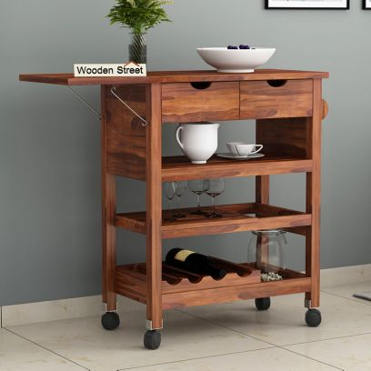 Buy kitchen trolley online India - solid wood kitchen trolley design