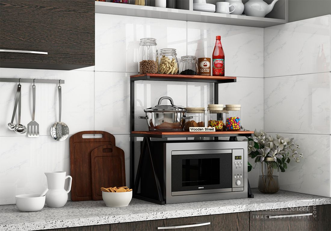 buy ascot microwave stand honey finish online in india wooden street