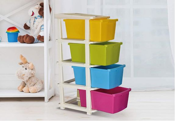 Colton Multicoloured Chest of 4 Drawers with Trolley
