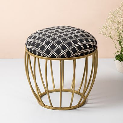 Black and Cream Designed Metallic Ottoman with Gold Cage Legs - Set of 2