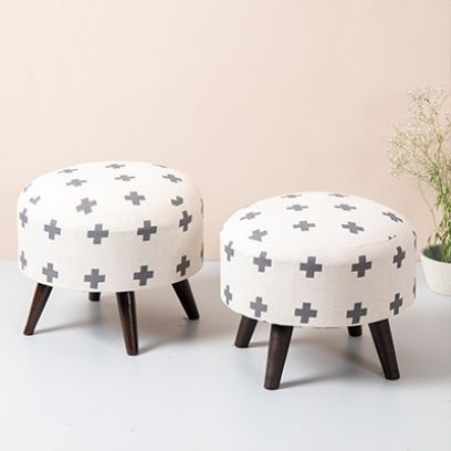 Grey and Off White Printed Cotton Ottoman - Set of 2
