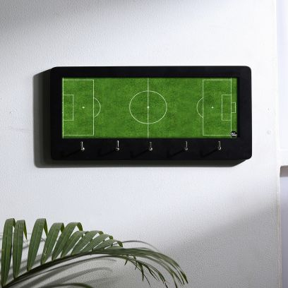 Brown and Green Football Design Wooden Key Holder