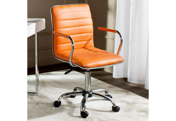 Height-Adjustable Faux-Leather Arm Conference Office Desk Chair (Orange)