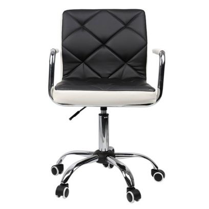 Height-Adjustable Mid-Back Faux-Leather Arm Office Desk Chair (Black & White)