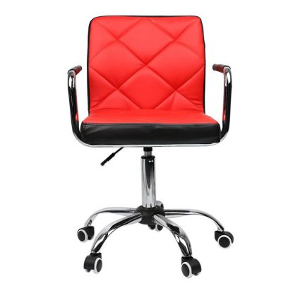 Height-Adjustable Mid-Back Faux-Leather Arm Office Desk Chair (Red & Black)
