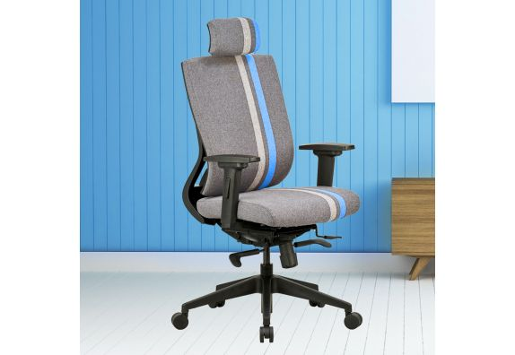 high back chair: Featherlite Liberate Game High Back Grey and Blue Fabric Chair