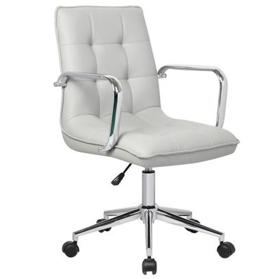 Porthos Home Lada Adjustable Swivel Faux Leather Office Chair With Arms (Grey)