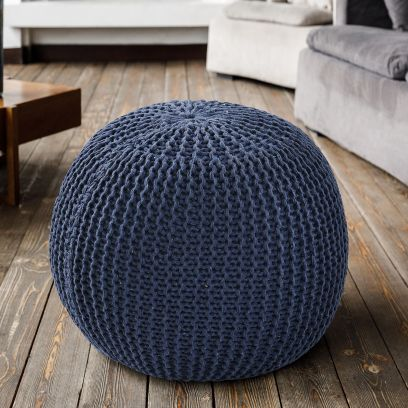 Blue Knitted Pouf