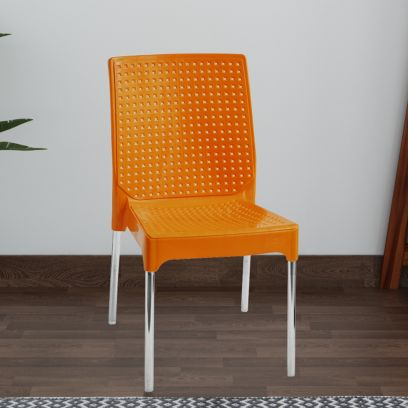 Italica Luxury Plastic Chair Without Arm Rest and Stainless Steel Legs (Orange)